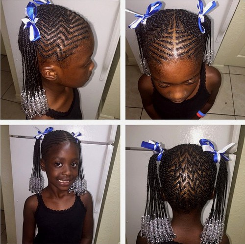 African American girl's braided hairstyle