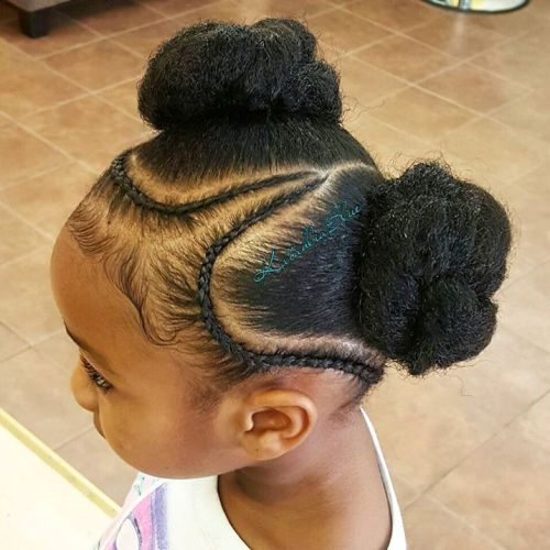 Two Kinky Buns Updo For Girls