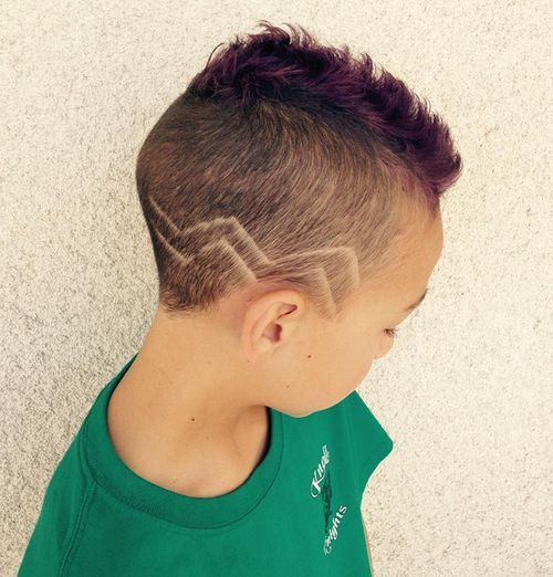 fauxhawk with zig-zag design for boys