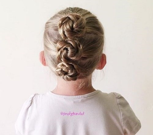 three braided buns updo for toddlers