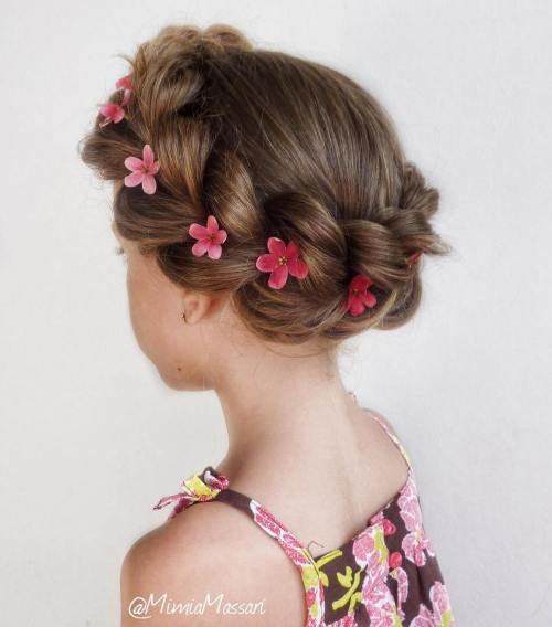 Chunky Crown Braid With Flowers