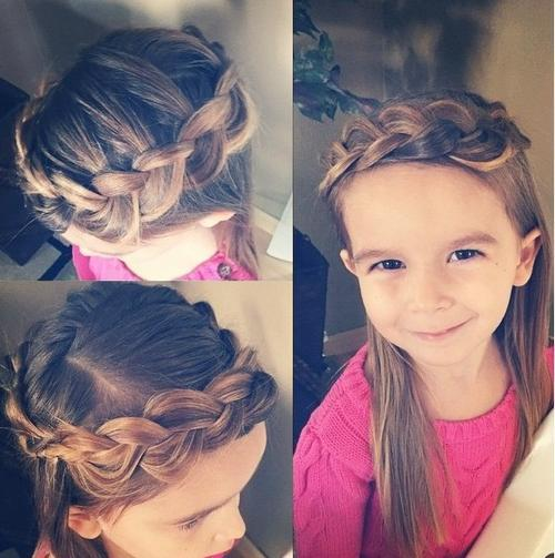 braided crown hairstyle for little girls
