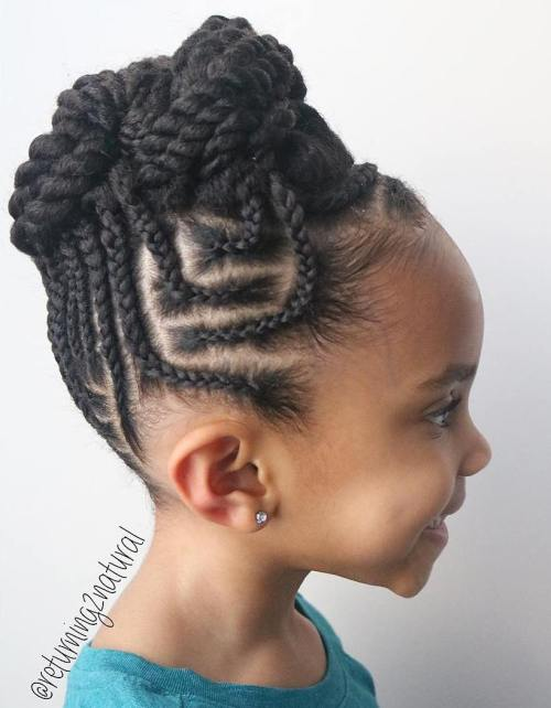 Cornrows Into Twists Updo For Girls