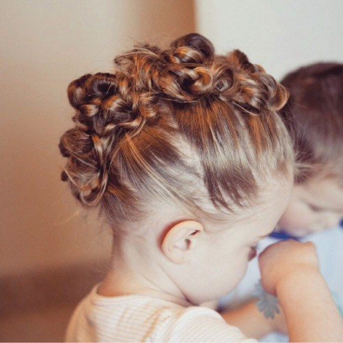 toddler knotted mohawk updo