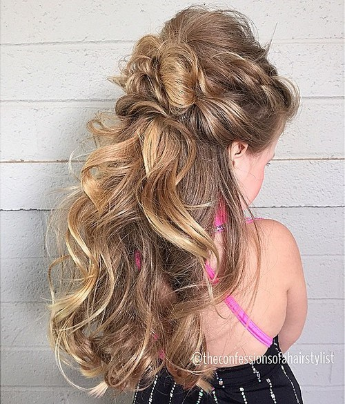 messy half updo for little girls