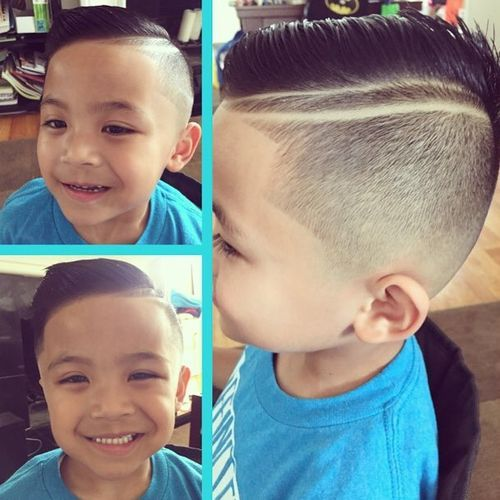 half shaved haircut for little boys