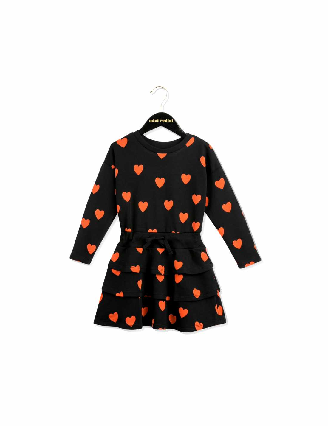 Black long sleeve frill dress with red hearts printed all over