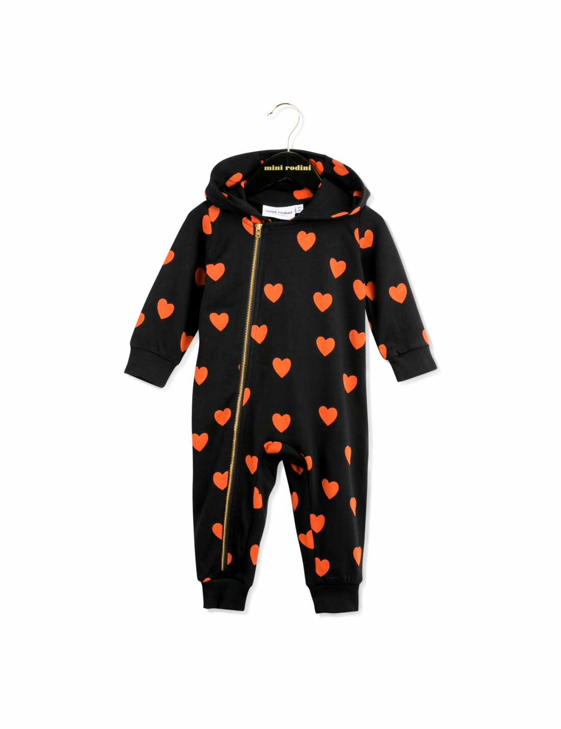 Hooded onesie in black with red hearts printed all over01