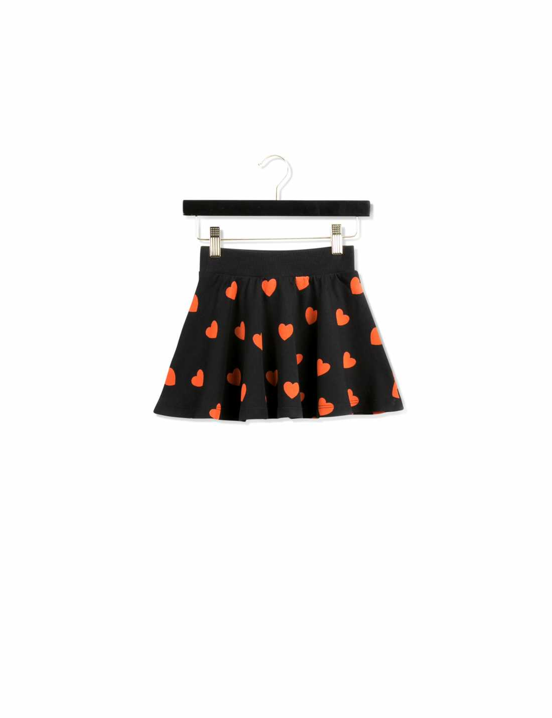 Black circle skirt with printed red hearts all over