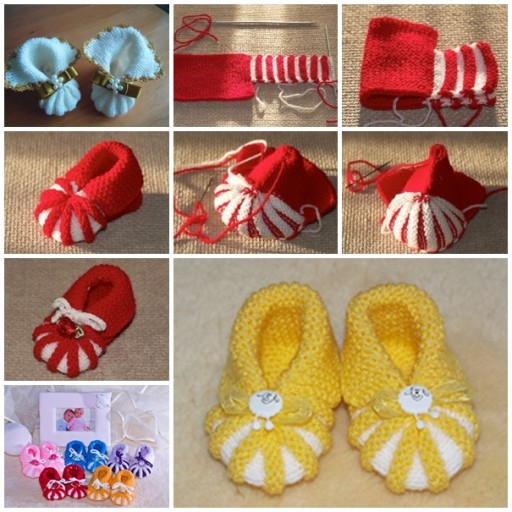Knitting Shoes Tutorial : Beautiful knit patterns baby shoes for winter cheap